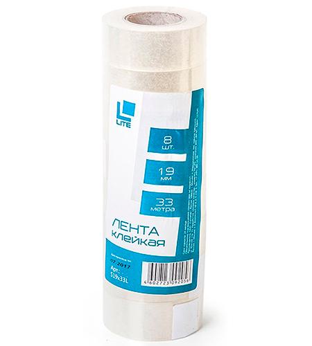 Клейкая лента (скотч) 19 мм х 33 м прозрачная, LITE