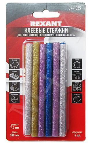 Клей для клеевого пистолета 7/100м, цветной с блестками (12шт/уп)