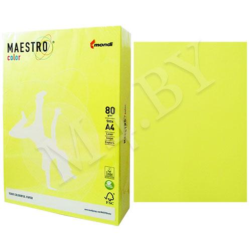 Бумага А4 10 листов 80г/м желтый неон, MAESTRO COLOR+файл