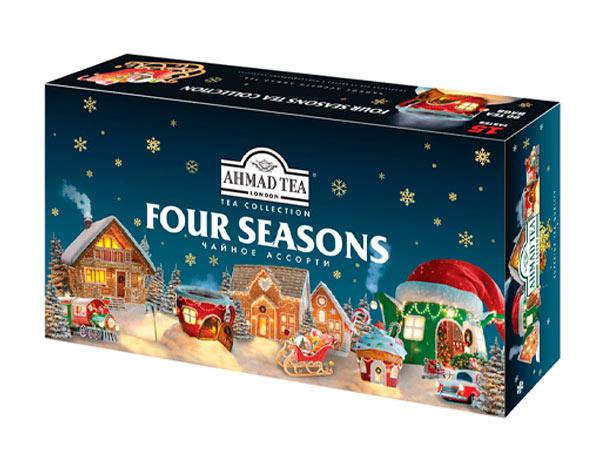 Чай в подарочном наборе, 15 вкусов, 90 фольг. пак., Зимняя упаковка (Чайное Ассорти)