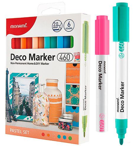Набор DECO-маркеров MonAmi 6 цветов 2,0 мм PASTEL арт. 460