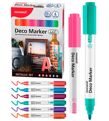 Набор DECO-маркеров MonAmi 6 цветов 2,0 мм METALLIC арт. 460