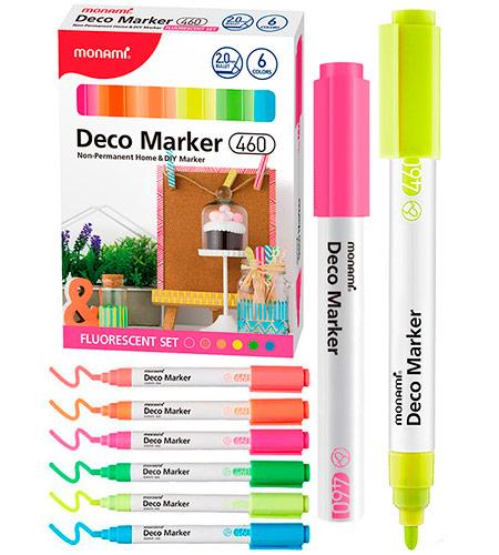 Набор DECO-маркеров MonAmi 6 цветов 2,0 мм FLUORESCENT арт. 460