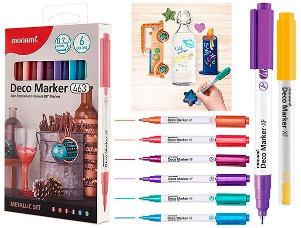 Набор DECO-маркеров MonAmi 6 цветов 0,7 мм METALLIC арт. 463